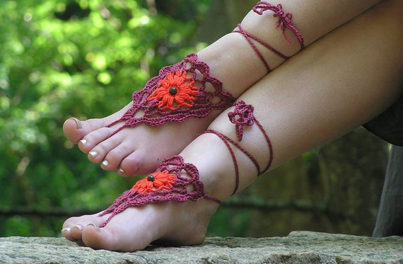 BAREFOOT SANDALS, Crochet, Barefoot Sandles, Wedding, Nude Shoes, Bohemian Beach Sandals, Gypsy Foot Jewelry, Anklets, Cotton, red, burgundy