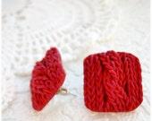Studs Earrings imitation knitting Polymer clay