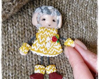 Sheep Doll Brooch Cute Gift for her Lovely Brooch on a children's handbag Polimerclay brooch Art Doll pin