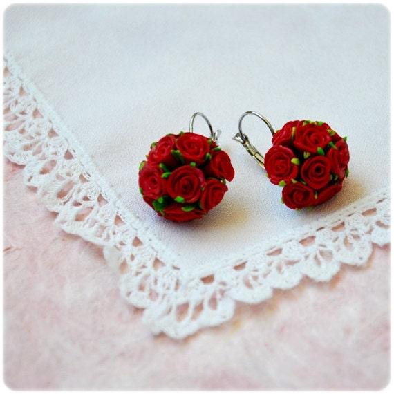 Tiny Red  Scarlet Roses Earrings