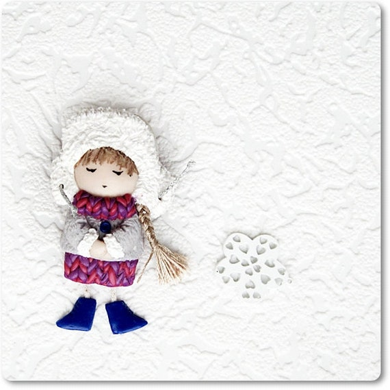 Cute Little Brooch -Girl in fur cap Christmas brooch