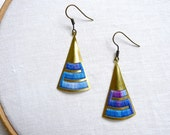 Triangular Earrings - brass and cotton thread
