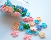 Chochet flower Fabric Applique Applique mix assorted chochet flower pink blue oragne green cream, bag supply, jewelry supply 50pcs.