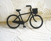Reserved : Iron on Applique Black Bicycle, felt applique, iron on patch