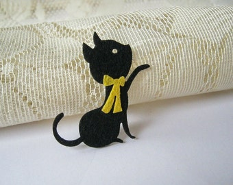 Iron on Applique, Cute Black Kitten, Cat Patches, Iron Patches,  kid, woman, baby, cat, Baby shower, Scrapbook, school, sewing, DIY, A16