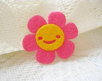 Felt Flower Applique  Pink Flower Lovely  kawaii applique shirt bag kid, baby shower, toys bag decoration mom women