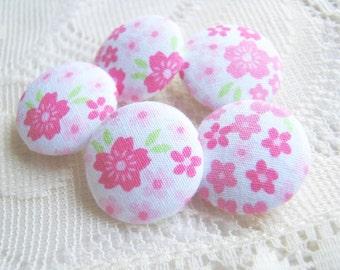 Fabric Buttons, Fabric covered button, Sakura White Pink Flower Set 5pcs,20mm, Size 32 woman, summer, spring, cute ,quilt,flower