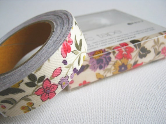 Fabric Tape Cotton Linen Tape cream Ivory Wild Flower, Pink Violet Red Yellow flowers, zakka, kawaii,card making ,gift package, scrapbook,
