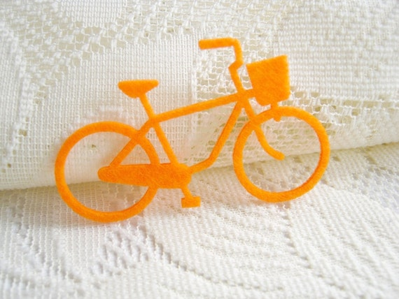 Iron on Applique Lovely Orange Bicycle, felt applique, iron on patch, gift for her, shirt decoration, bag decor,woman,kid, baby, couple