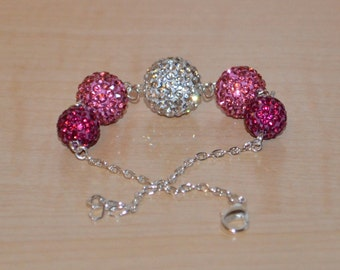 Hot Pink, Pink, and White Pave Crystal Disco Ball Bead Bracelet - 14mm, 12mm, 10mm - 5GCB