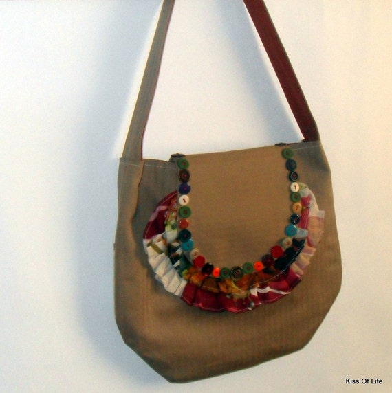 Fall Floral Ruffles Purse Shoulder Bag Upcycled OOAK Handmade Unique Eco-Friendly