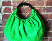 I Love Retro Bag Green Polka Retro dot Vintage fabric :) Balloon bag granny bag Nostalgic vintage taste Cute