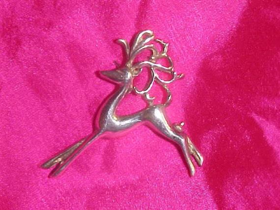 Silver Brooch/Pin  Dancing Reindeer Sterling Brooch Vintage circa 1950 Will ship Worldwide.