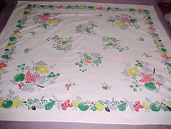 Vintage Tablecloth Rich Colored Fruit on Snowy Background  circa 1950s