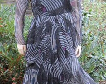 Vintage 80s 90s dress Hanae Mori silk chiffon dress with hip swags butterfly wings Bust 34