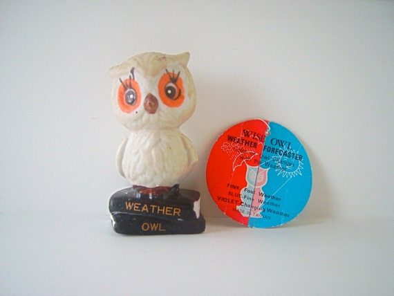 """Wise Owl Weather Forecaster Collectible Owl Figurine, 3.25"""" tall, Made in Taiwan"""