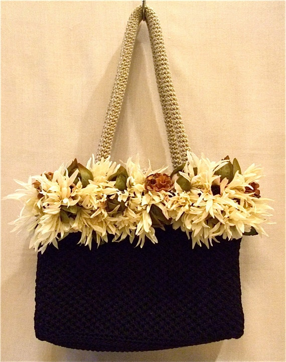 Beige Black Knit Flower Shoulder Bag Flower Purse