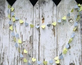 Sweetheart paper garland - 10 feet (3 metres) Soft Lemon and Grey Gray, engagement wedding party home decor