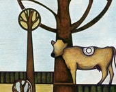 Illustration of Brown Swiss Cow, Jersey Cow Drawing, Guernsey Cow Poster, Green Yellow Blue and Brown Pastoral Cow Print with Trees