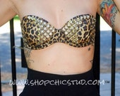 Studded Bustier Bra - Leopard Print -  Gold Black OR Silver Studs