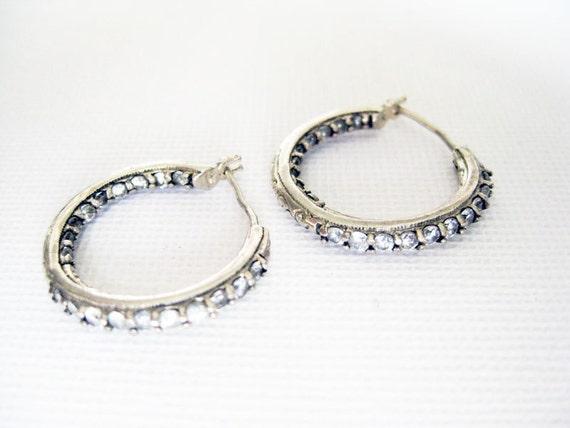 Tacori Silver Hoop Earrings with Cubic Zirconia