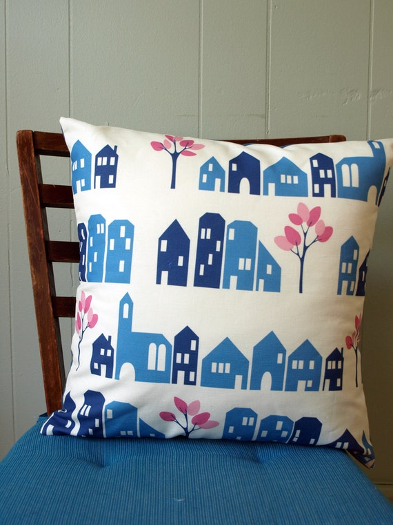 Blue House Printed Pillow Cover with Pink Trees