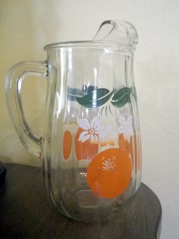 Pitcher for Orange Juice Vintage Groovy and Retro Mid Century Decorated Glass Pitcher