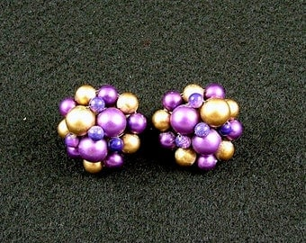 Purple and Gold Faux Pearl Clip On Earrings