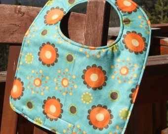 TODDLER BIB: Orange Flowers on Teal, Personalization Available