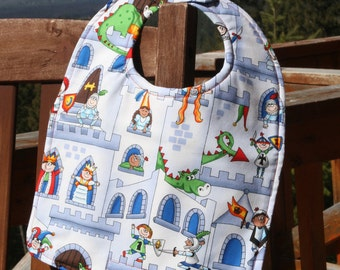 TODDLER or NEWBORN Bib: Knights, Castles and Dragons, Personalization Available