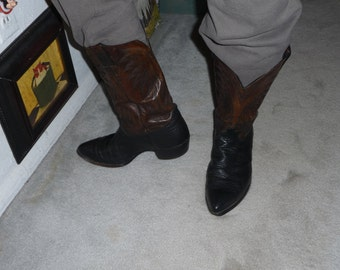 REAL leather COWBOY Boots for men two tone *CLEARANCE*