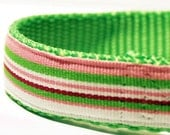 "Preppy Dog Collar - Pink and Green Stripes 3/4"" wide"