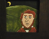 Henry David Thoreau Moonlight Framed Original Folk Art Painting