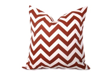 Pillow. Chevron. Rust and Cream.Decorator Pillow. 20 x 20 Throw Pillow Covers.ZigZag.Cushion Covers.Printed Fabric front and back