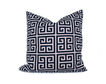 Navy Pillow Greek Key Pillow Cover Decorative Pillow Covers throw pillow covers  - blue pillow - blue pillow covers -  decorative pillows