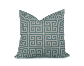 Decorative Throw Pillow Blue Cream. Greek Key.Light Blue .Cushion cover.Decorative Pillow Cover 20x20 inch.Printed fabric both sides