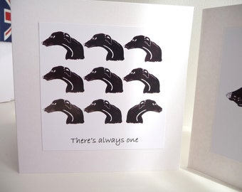 Black Greyhound Multihead Greetings Card