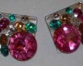 Huge Swarovski Stone Earrings Pierced Handmade by Artist