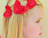 Hearts hair pins, romantic girls hair accessory, red chocker, set, red satin, red organza, red hearts