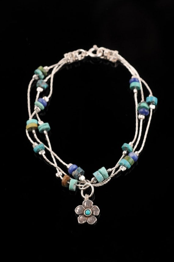 "3 Silver Chains Bracelet with Turquoise and Blue Beads- ""Turquoise Heaven"""