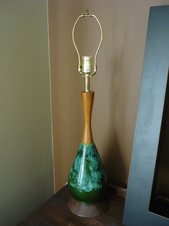 Vintage Ceramic and Teak Table Lamp, Turquoise and Green Glaze, Mid Century Modern Home Decor