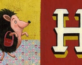 "Hedgehog llustration print - New baby gift or for little girl's room - H is for Hedgehog (11""x17"")"