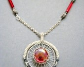 Wire wrapped jewelry, handmade wire wrapped necklace, Red glass necklace, handmade wire wrapped jewelry