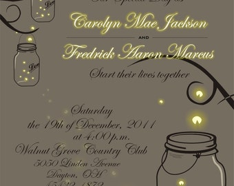 Printable Mason Jar Fireflies Wedding Invitation Only - Digital DIY
