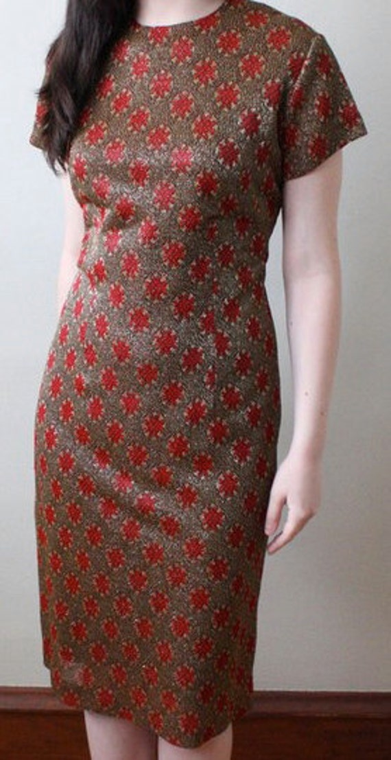 Perfect Holiday 50s Red and Gold Shimmery Wiggle Dress