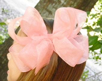 Girls hair bows, Pageant hair bow, Organza hair bows, Girls hair Bows, Boutique hair bows, Peach, Organza Bow
