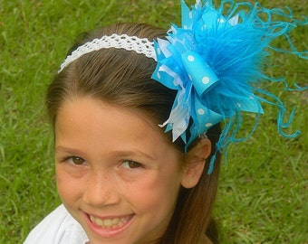 Turquoise Polka Dot Over the Top Hair Bow Huge Boutique Hair Bow Curly Ostrich
