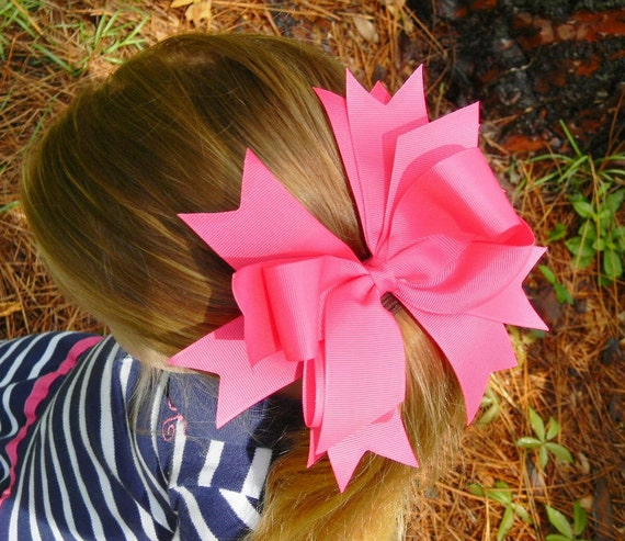 Girls Hair Bow, Stacked Boutique hair bows, Custom Hair Bow, You Choose Color, Hair bows, Made to match Hairbow