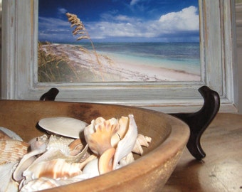 Distressed Wood Picture Frame with Original Cape Cod Beach Photo -  Distressed Wood Frame with New England Coastline Photo