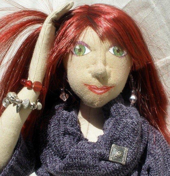 Bridget, red haired cloth doll 17 inches tall green eyes, purple sweater outfit